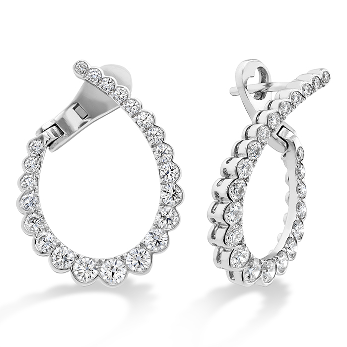 1.65 ctw. Aerial Regal Diamond Hoops Medium in 18K White Gold
