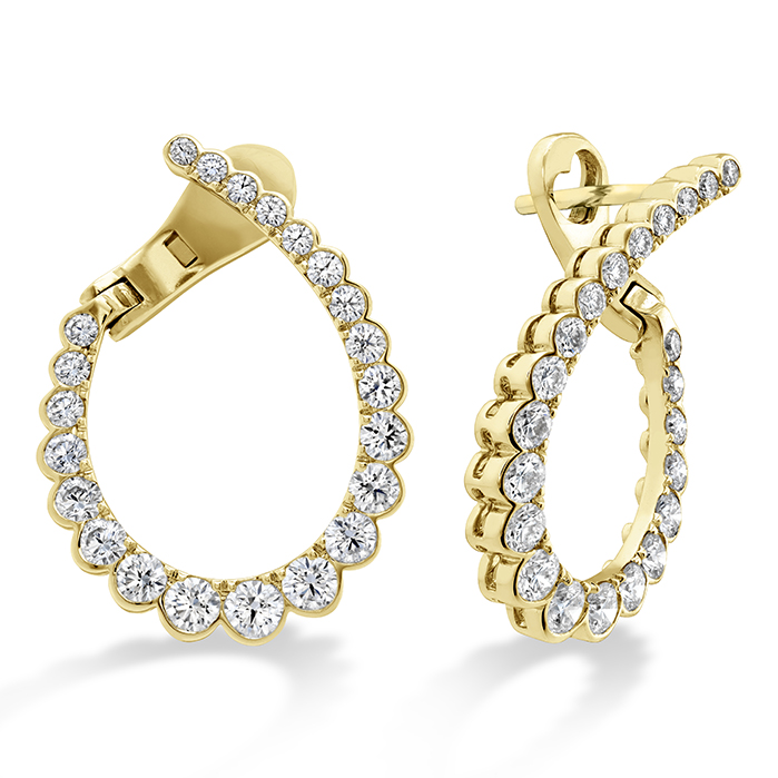 1.65 ctw. Aerial Regal Diamond Hoops Medium in 18K Yellow Gold