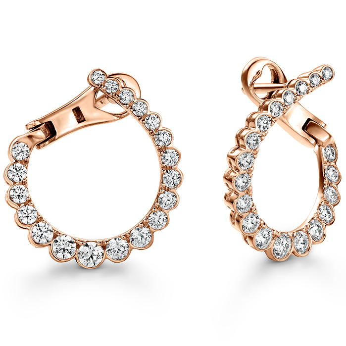 0.98 ctw. Aerial Regal Diamond Hoops- Small in 18K Rose Gold