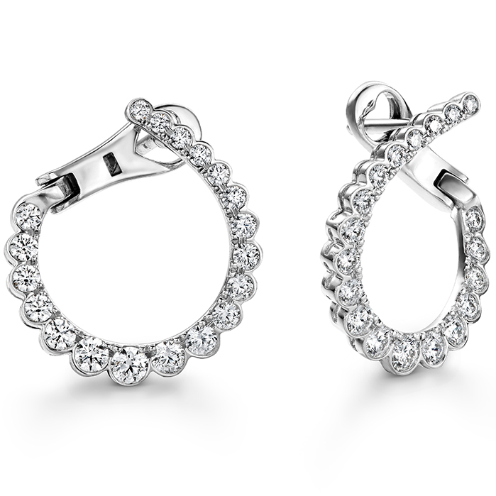 0.98 ctw. Aerial Regal Diamond Hoops- Small in 18K White Gold