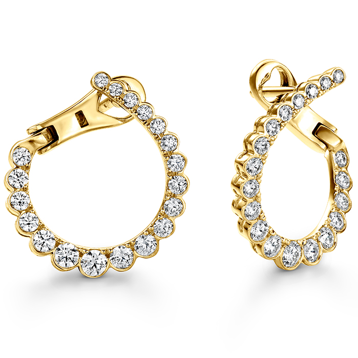 0.98 ctw. Aerial Regal Diamond Hoops- Small in 18K Yellow Gold