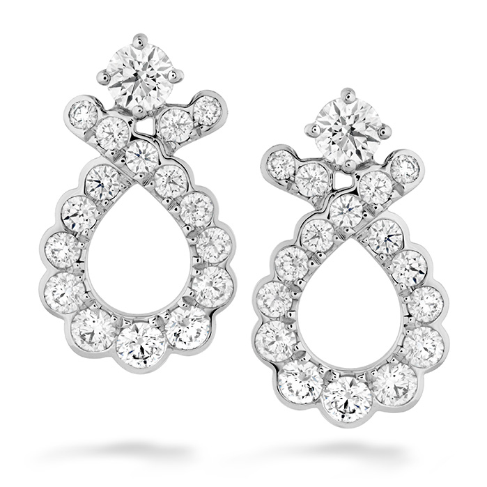 0.9 ctw. Aerial Regal Scroll Earrings in 18K White Gold