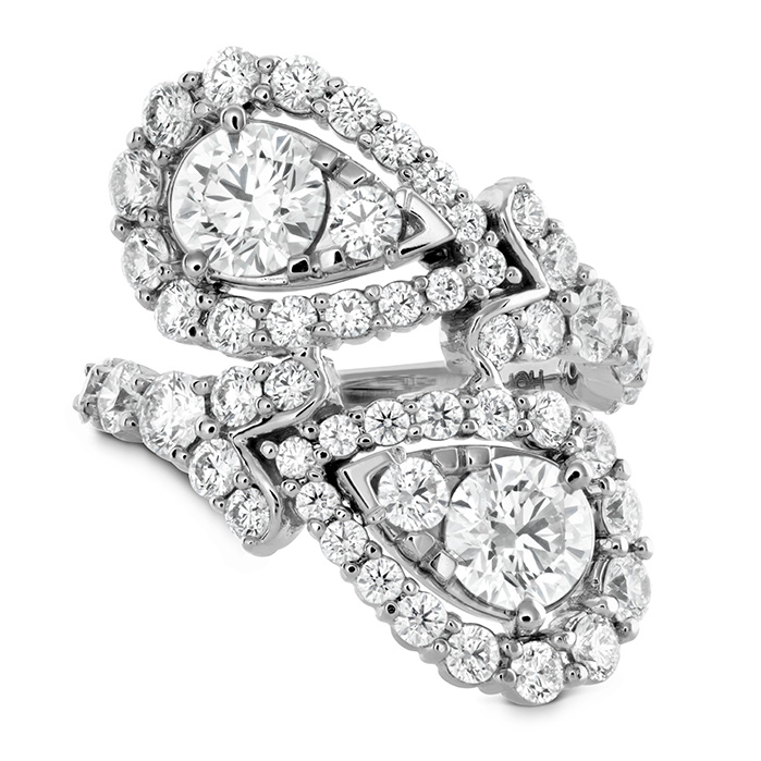 3.8 ctw. Aerial Victorian Bypass Diamond Ring in 18K White Gold