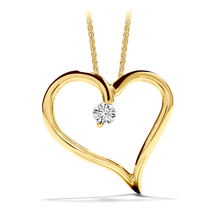 0.12 ctw. Amorous Heart Pendant Necklace in 18K Yellow Gold