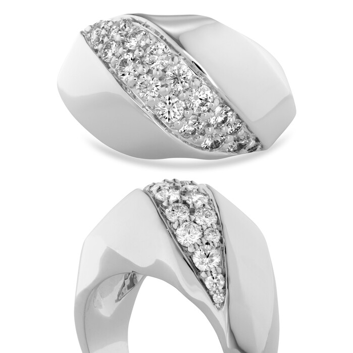 1.1 ctw. Atlantico Wave Right Hand Ring in 18K White Gold