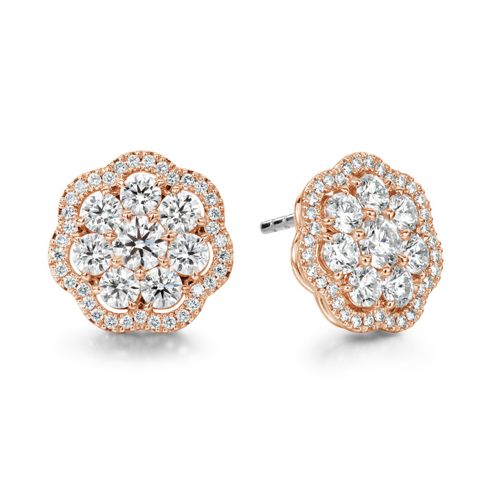 2.42 ctw. Aurora Cluster Earrings in 18K Rose Gold