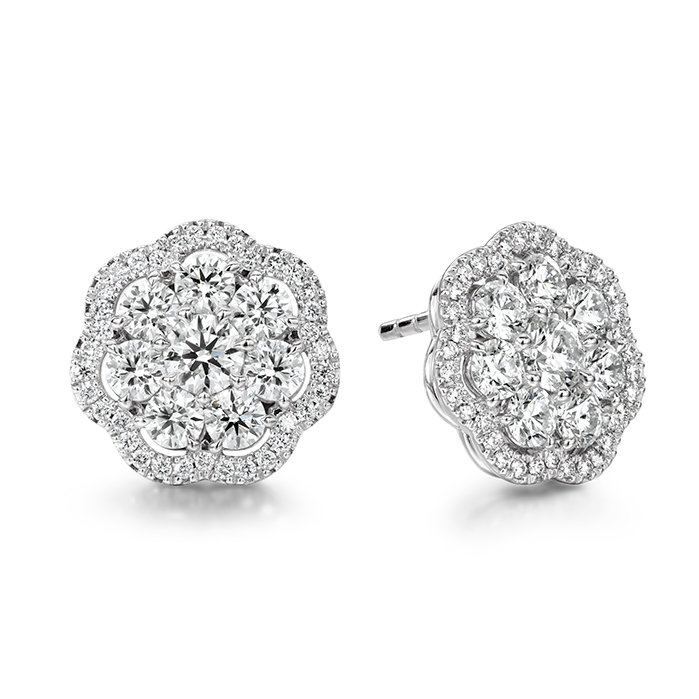 2.42 ctw. Aurora Cluster Earrings in 18K White Gold