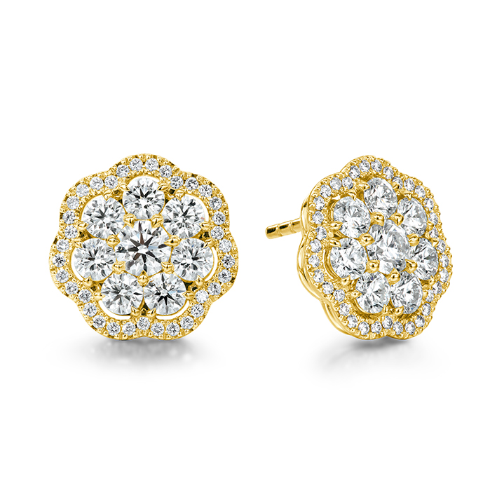 2.42 ctw. Aurora Cluster Earrings in 18K Yellow Gold