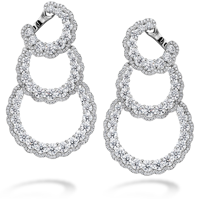 13.84 ctw. Aurora Triple Tier Hoop Earrings in Platinum