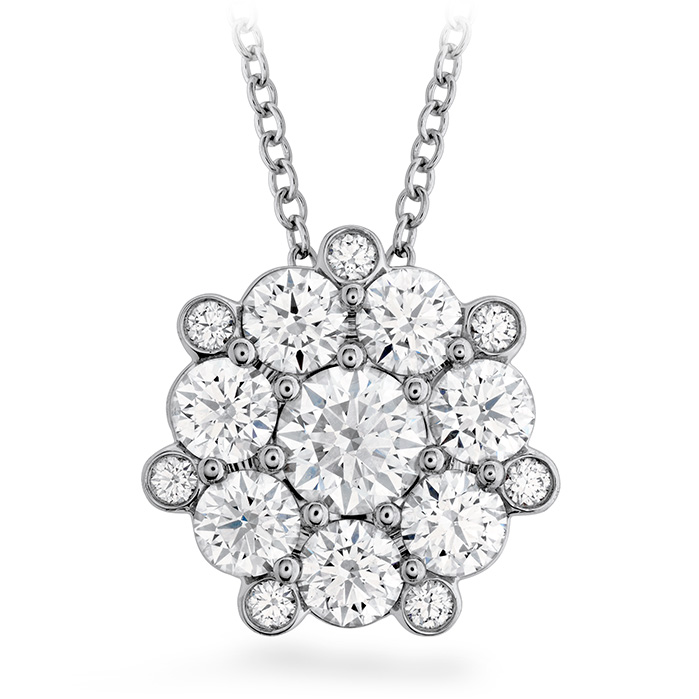 1.45 ctw. Beloved Cluster Diamond Pendant in 18K White Gold