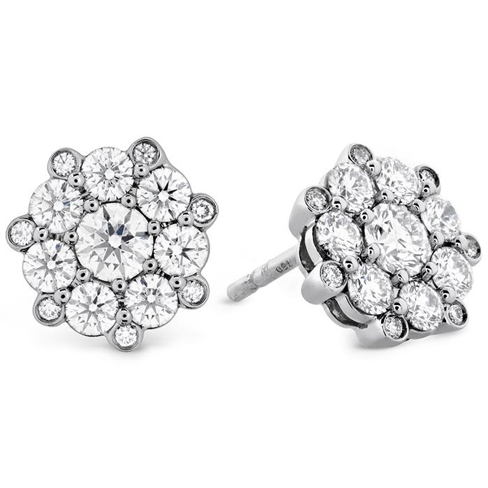 1.1 ctw. Beloved Cluster Diamond Stud Earrings in 18K White Gold