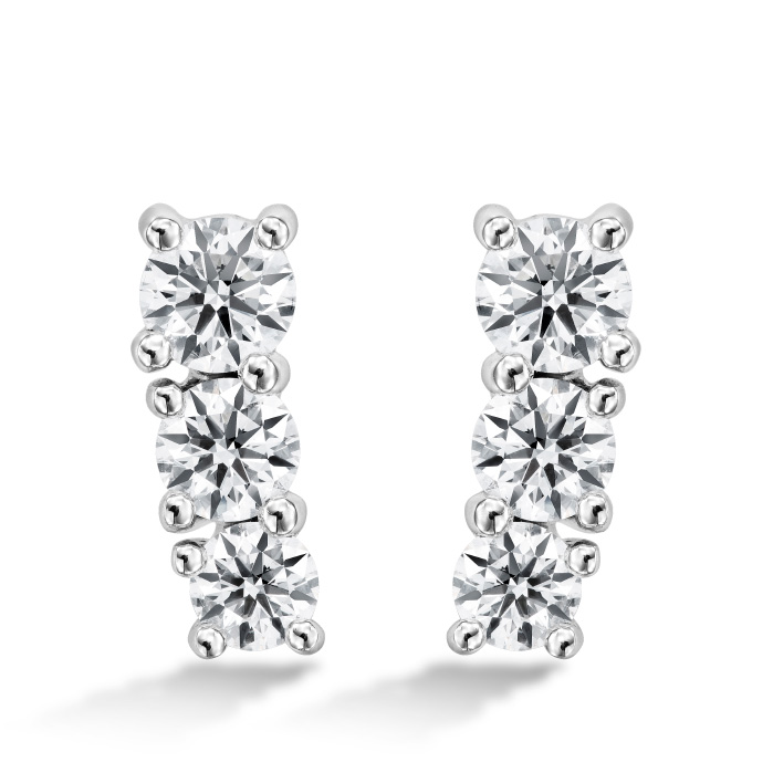 1.21 ctw. Cascade Earring Climber 3 Stone in 18K White Gold