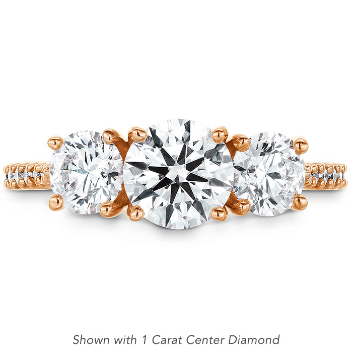 1.34 ctw. Camilla 3 Stone Diamond Engagement Ring in 18K Rose Gold