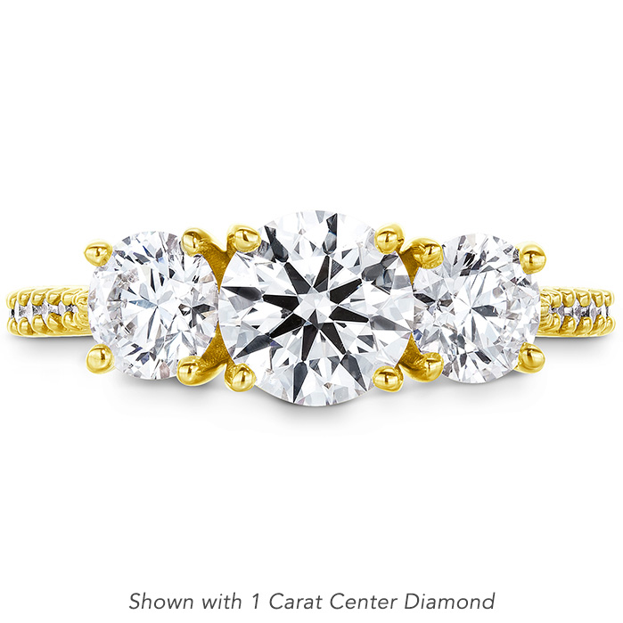 0.14 ctw. Camilla 3 Stone Diamond Engagement Ring in 18K Yellow Gold