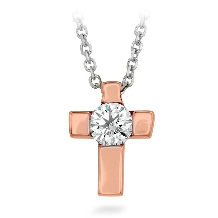 0.09 ctw. Charmed Cross Pendant in 18K White Gold