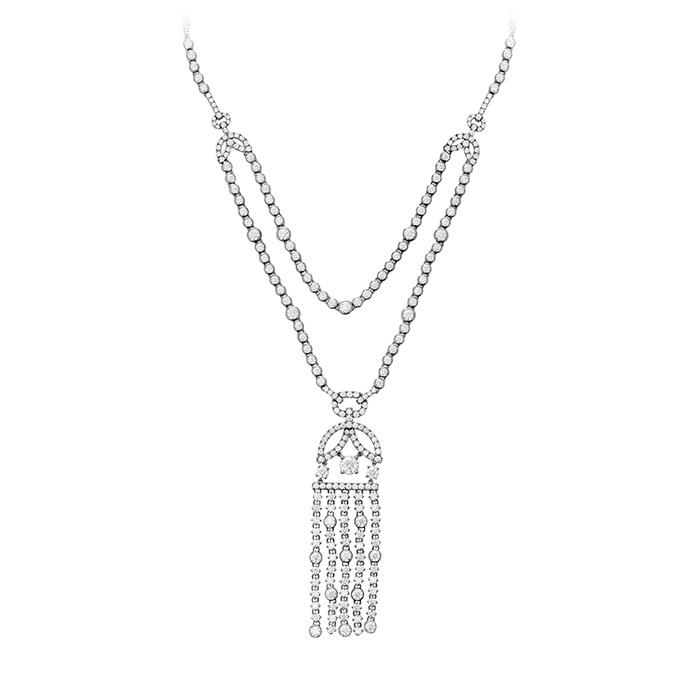 21.2 ctw. Copley Tassel Diamond Necklace in 18K White Gold