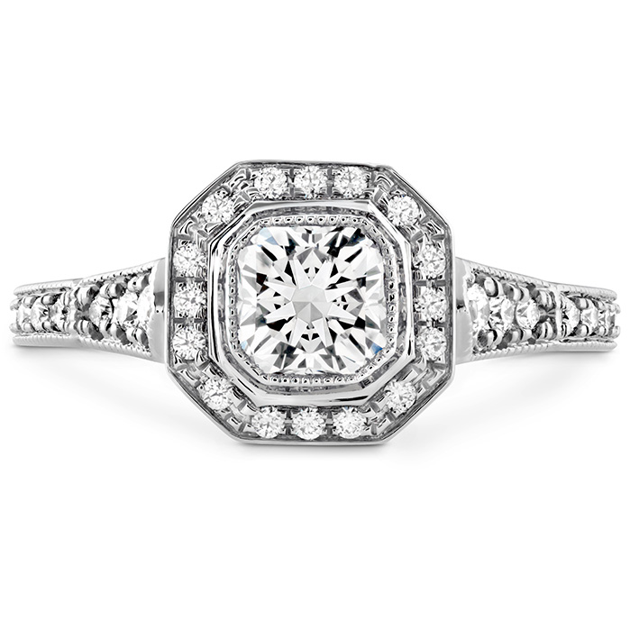 0.28 ctw. Deco Chic DRM Halo Engagement Ring in 18K White Gold