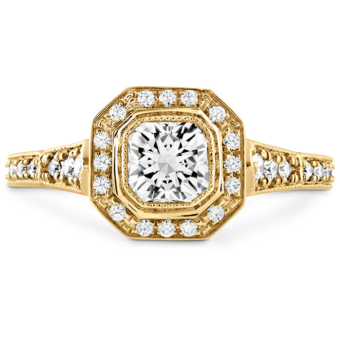 0.3 ctw. Deco Chic DRM Halo Engagement Ring in 18K Yellow Gold