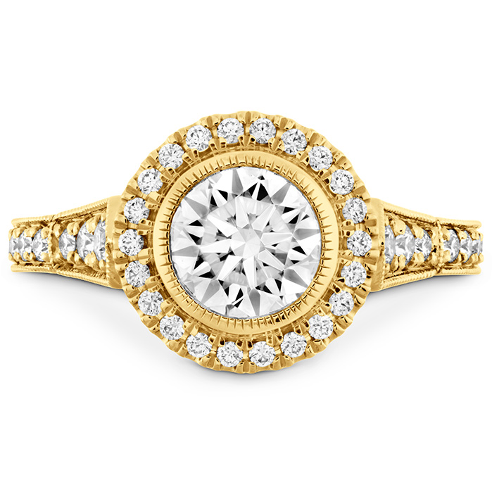 0.3 ctw. Deco Chic HOF Halo Semi-Mount in 18K Yellow Gold