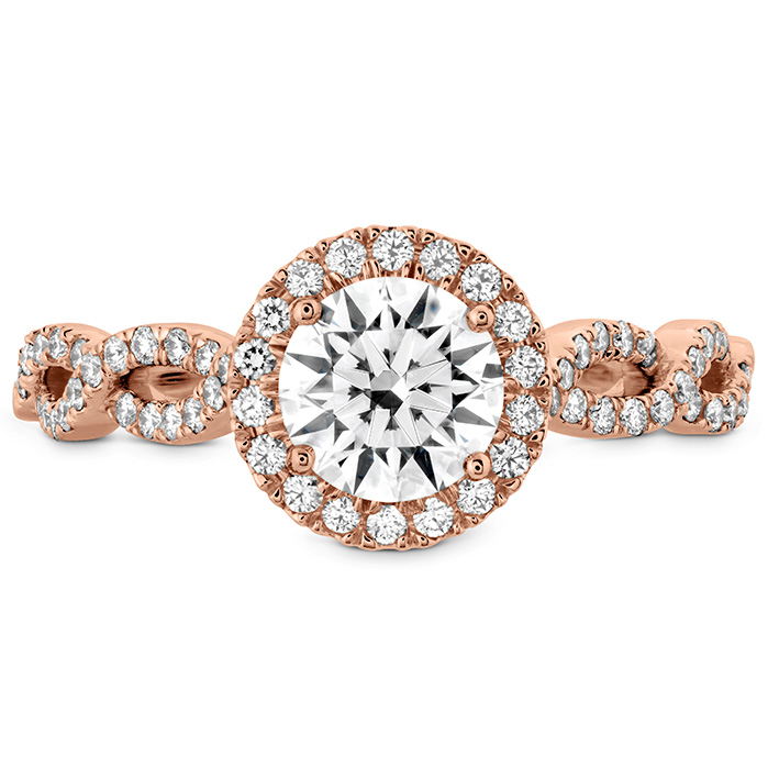 0.3 ctw. Destiny Lace HOF Halo Engagement Ring - Dia Intensive in 18K Rose Gold