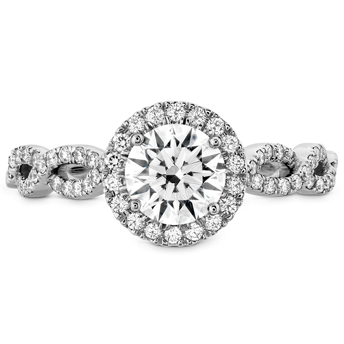 0.32 ctw. Destiny Lace HOF Halo Engagement Ring - Dia Intensive in Platinum