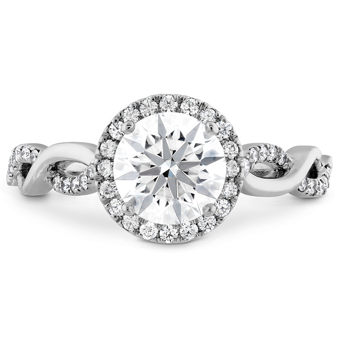 0.23 ctw. Destiny Lace HOF Halo Engagement Ring in 18K White Gold