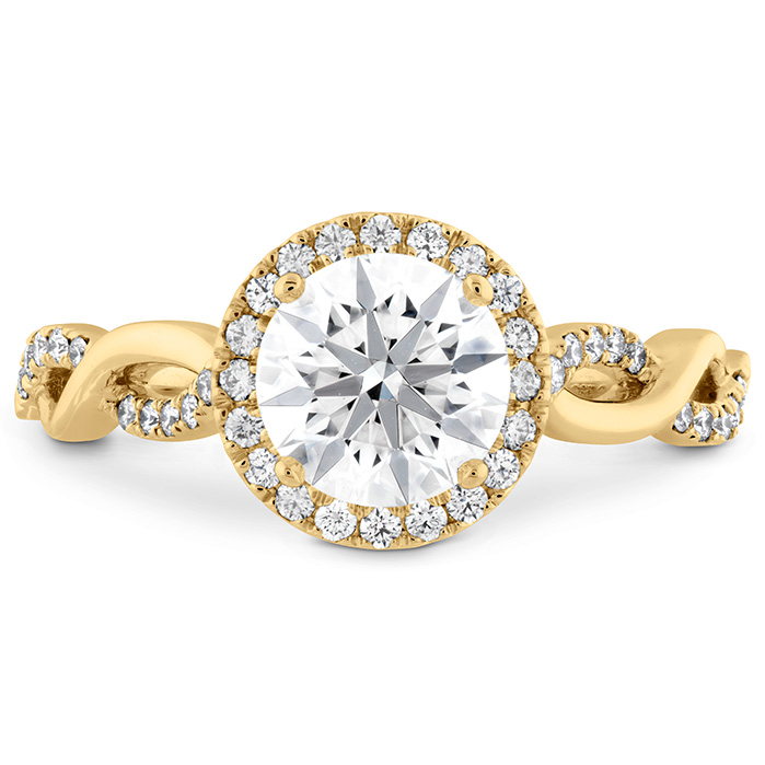 0.23 ctw. Destiny Lace HOF Halo Engagement Ring in 18K Yellow Gold