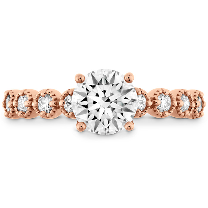 0.3 ctw. Diamond Bar Single Prong Milgrain Semi-Mount in 18K Rose Gold