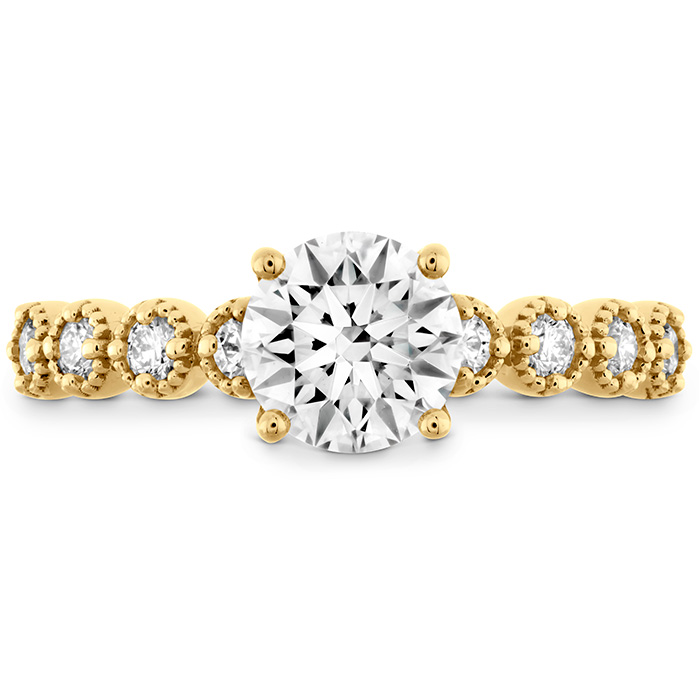 0.3 ctw. Diamond Bar Single Prong Milgrain Semi-Mount in 18K Yellow Gold