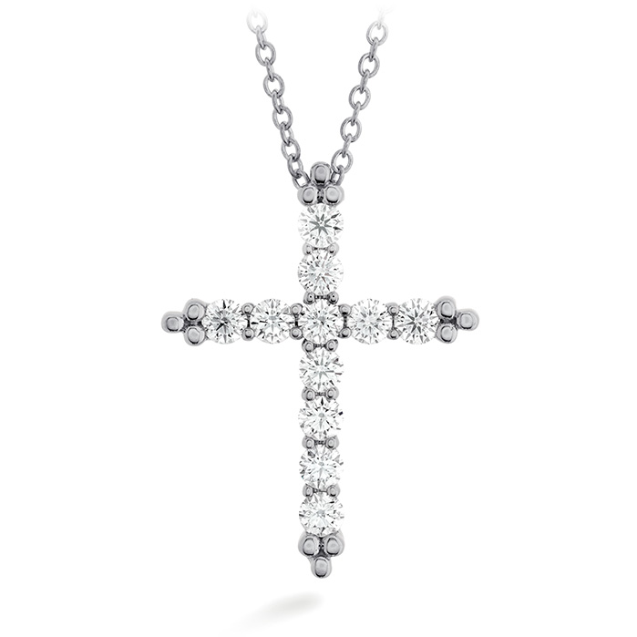 0.72 ctw. Divine Graceful Cross Pendant in 18K White Gold