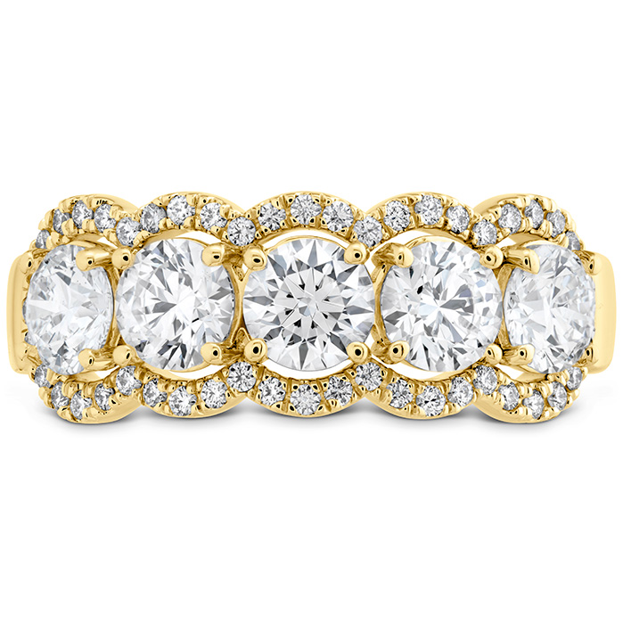 1.55 ctw. HOF 5 Stone Halo Band in 18K Yellow Gold