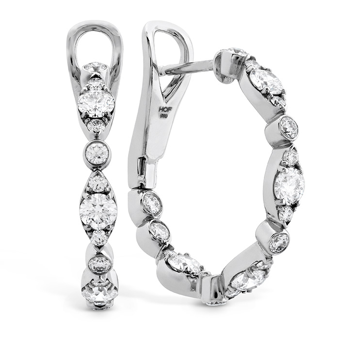 1.3 ctw. HOF Bezel Regal Hoops in 18K White Gold