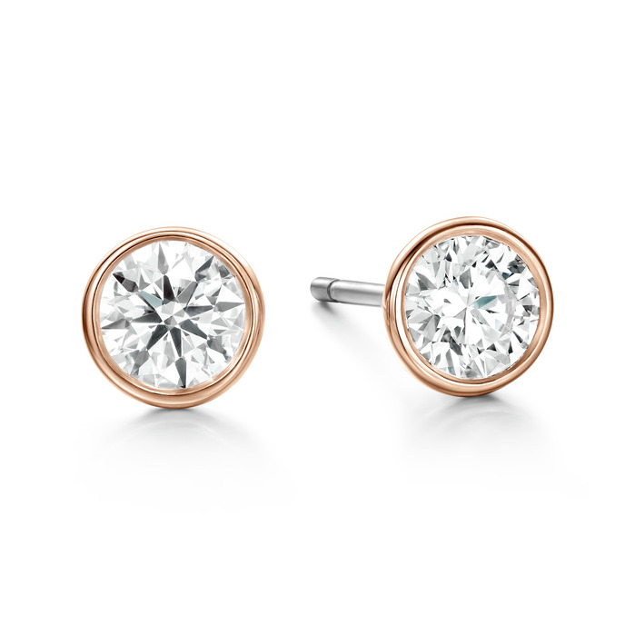 HOF Classic Bezel Studs in 18K Rose Gold