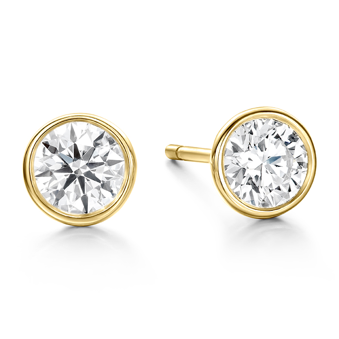 1.08 ctw. HOF Classic Bezel Studs in 18K Yellow Gold