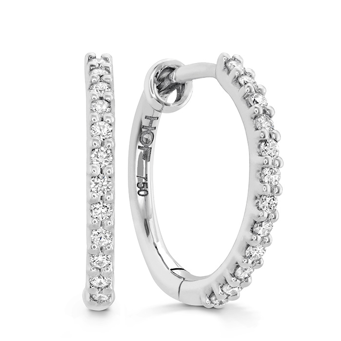 0.1 ctw. HOF Classic Diamond Hoop - Small in 18K White Gold