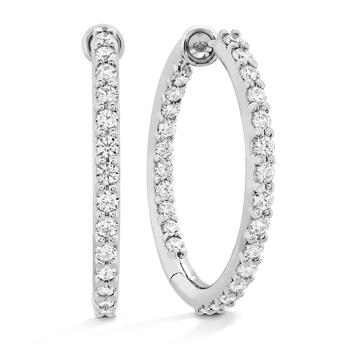 0.8 ctw. HOF Classic Dia Hoop Inside-Out - Medium in 18K White Gold