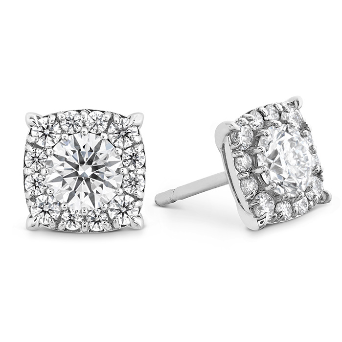 1.15 ctw. HOF Custom Halo Diamond Stud Earrings in 18K White Gold