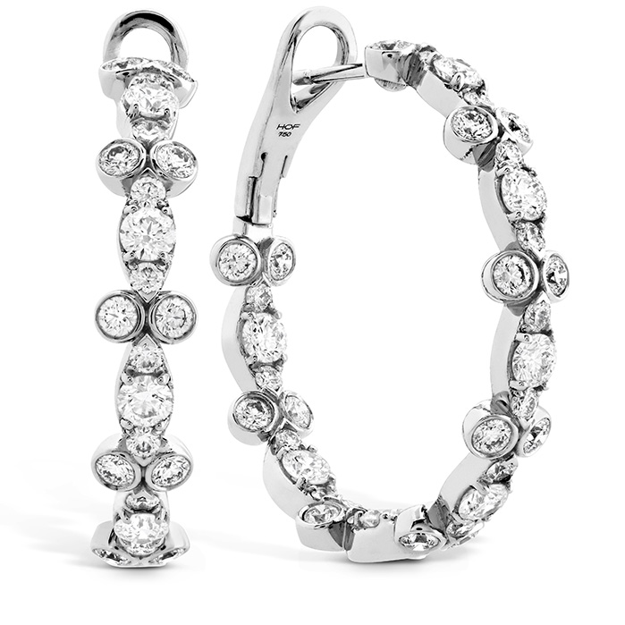 3.4 ctw. HOF Double Bezel Regal Hoops in 18K White Gold