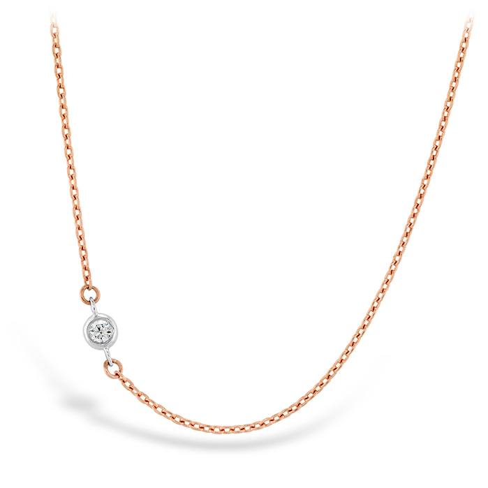 HOF Signature Off-Set Single Bezel Necklace in 18K Yellow Gold w/Platinum