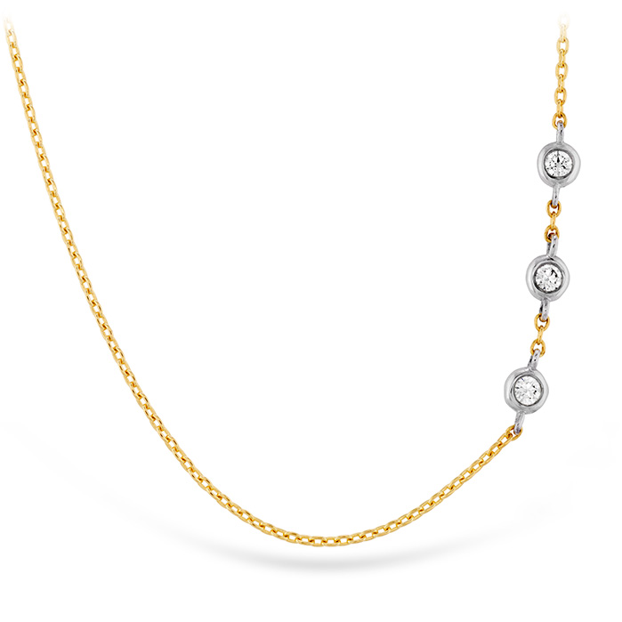0.05 ctw. HOF Signature Off-Set Triple Bezel Necklace in 18K Yellow Gold w/Platinum