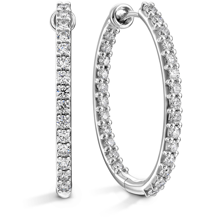 1.4 ctw. HOF Oval Classic Diamond Hoope Inside-Out - Large in 18K White Gold