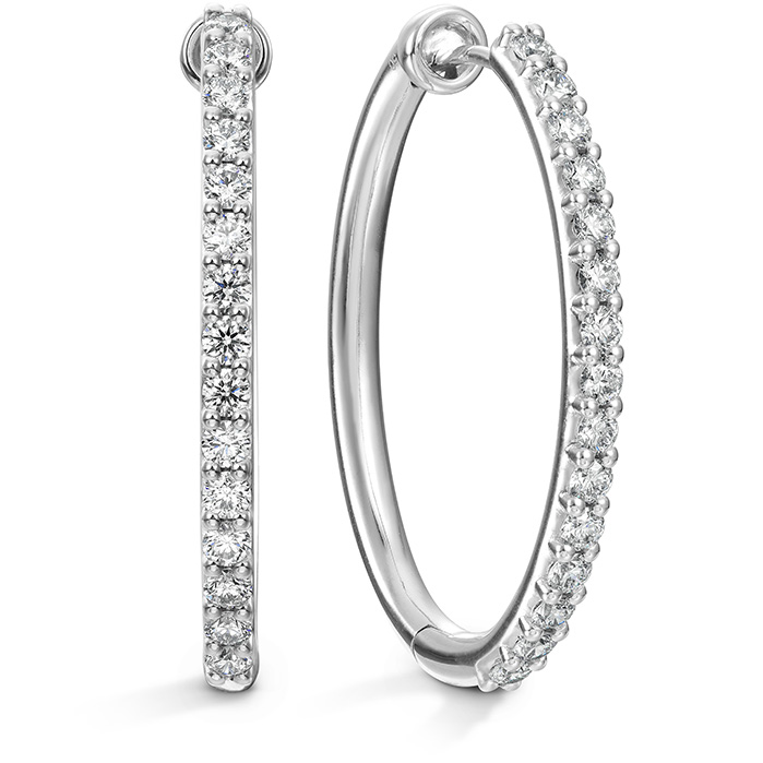 0.96 ctw. HOF Oval Classic Diamond Hoop - Large in 18K White Gold