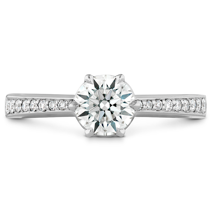 0.1 ctw. HOF Signature 6 Prong Engagement Ring - Diamond Band in 18K White Gold