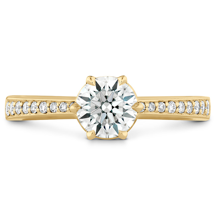 0.1 ctw. HOF Signature 6 Prong Engagement Ring - Diamond Band in 18K Yellow Gold