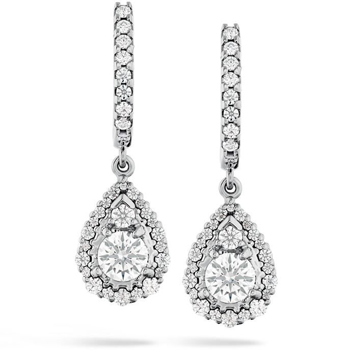 1.25 ctw. HOF Teardrop Halo Drop Earrings in 18K White Gold