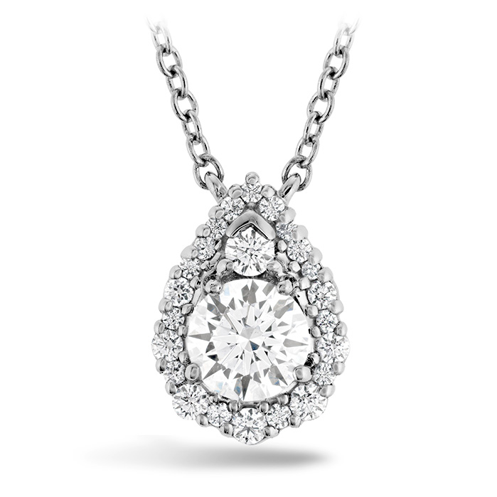 0.55 ctw. HOF Teardrop halo Pendant in 18K White Gold