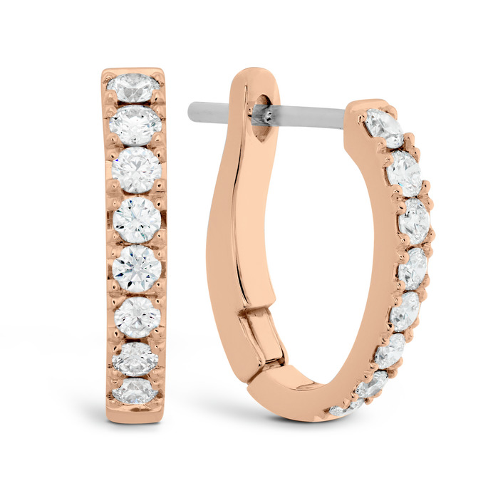 0.3 ctw. Mini Hoop Graduated Earrings in 18K Rose Gold