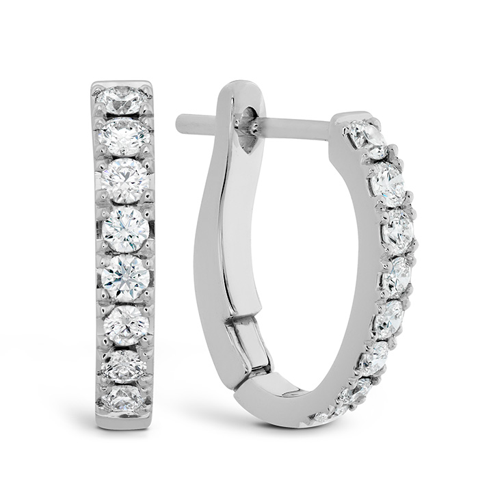 0.3 ctw. Mini Hoop Graduated Earrings in 18K White Gold