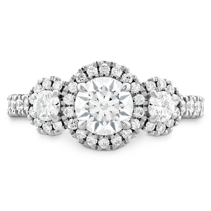 1.05 ctw. Integrity HOF Three Stone Engagement Ring in 18K White Gold