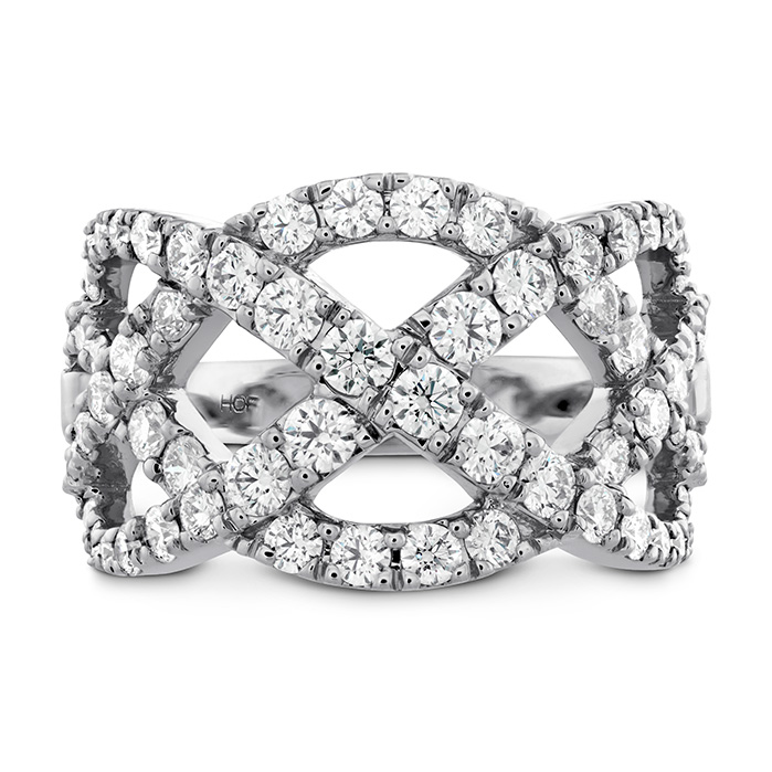1.5 ctw. Intertwining Diamond Right Hand Ring in 18K White Gold